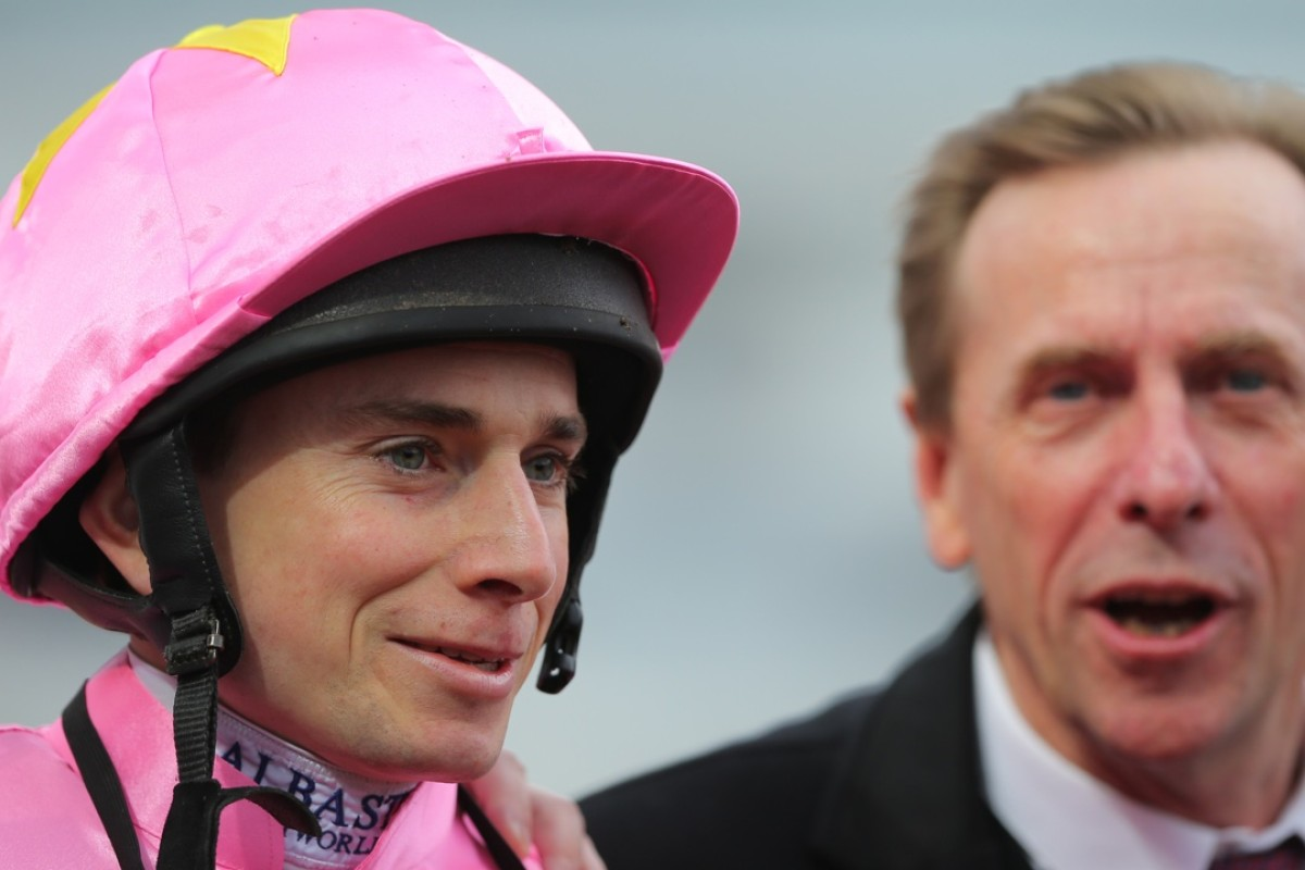 Ryan Moore, pictured with trainer John Size, won the Hong Kong Classic Cup during his stint in Hong Kong. Photos: Kenneth Chan