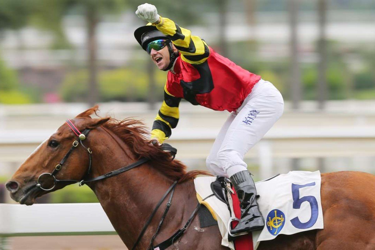 It was a traditionally big celebration from Brett Prebble as Lucky Bubbles stamped himself as a Group One horse in the making with a win in the Sprint Cup. Photo: Kenneth Chan
