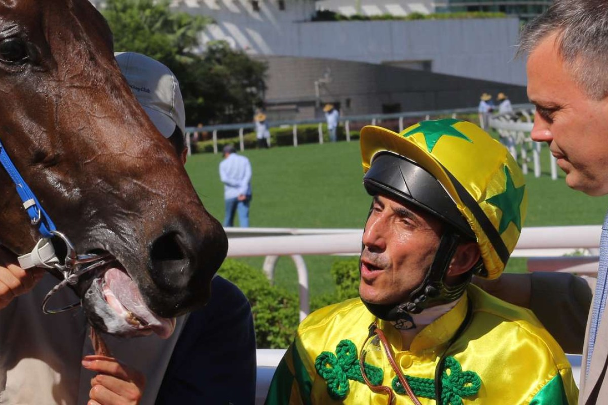 Olivier Doleuze and Caspar Fownes celebrate Sky King's first Sha Tin win on Sunday. Photo: Kenneth Chan