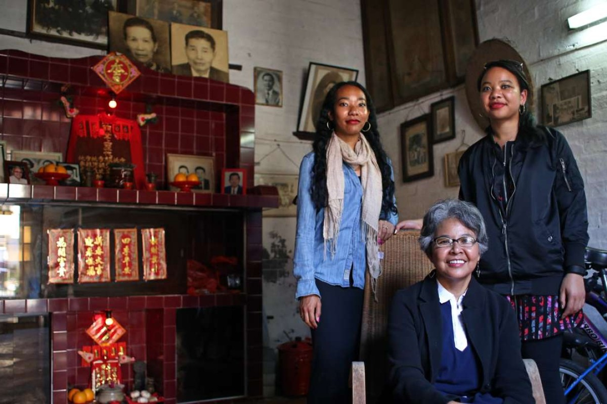 Author Gaia Goffe (left), her mother, Judith Hugh-Goffe, and sister Tao Leigh Goffe at the home of Judith's grandfather in Fan Leng Lau, Hong Kong. Photo: Bruce Yan
