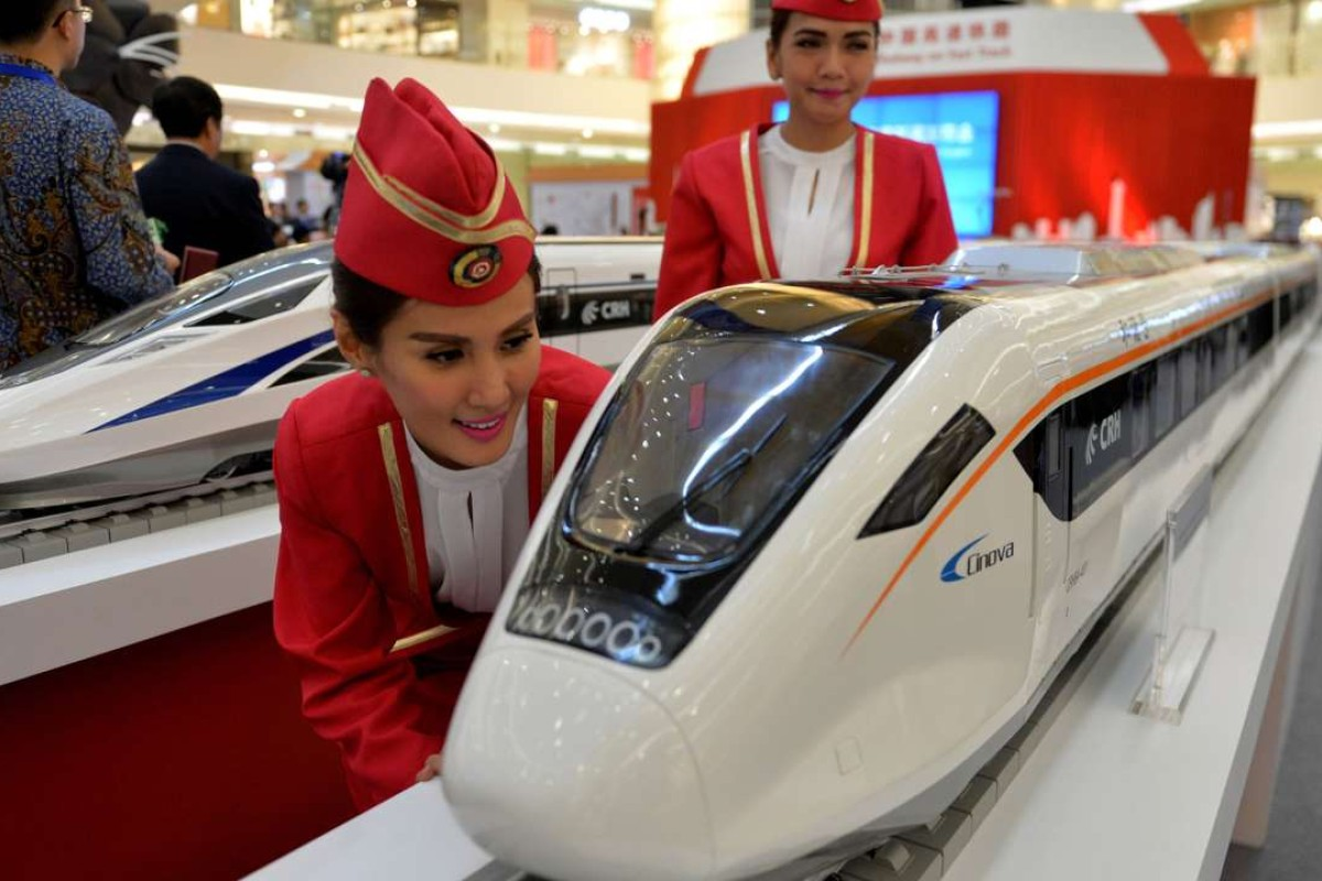 Scale models of Chinese-made bullet trains at a shopping mall in Jakarta. Photo: AFP