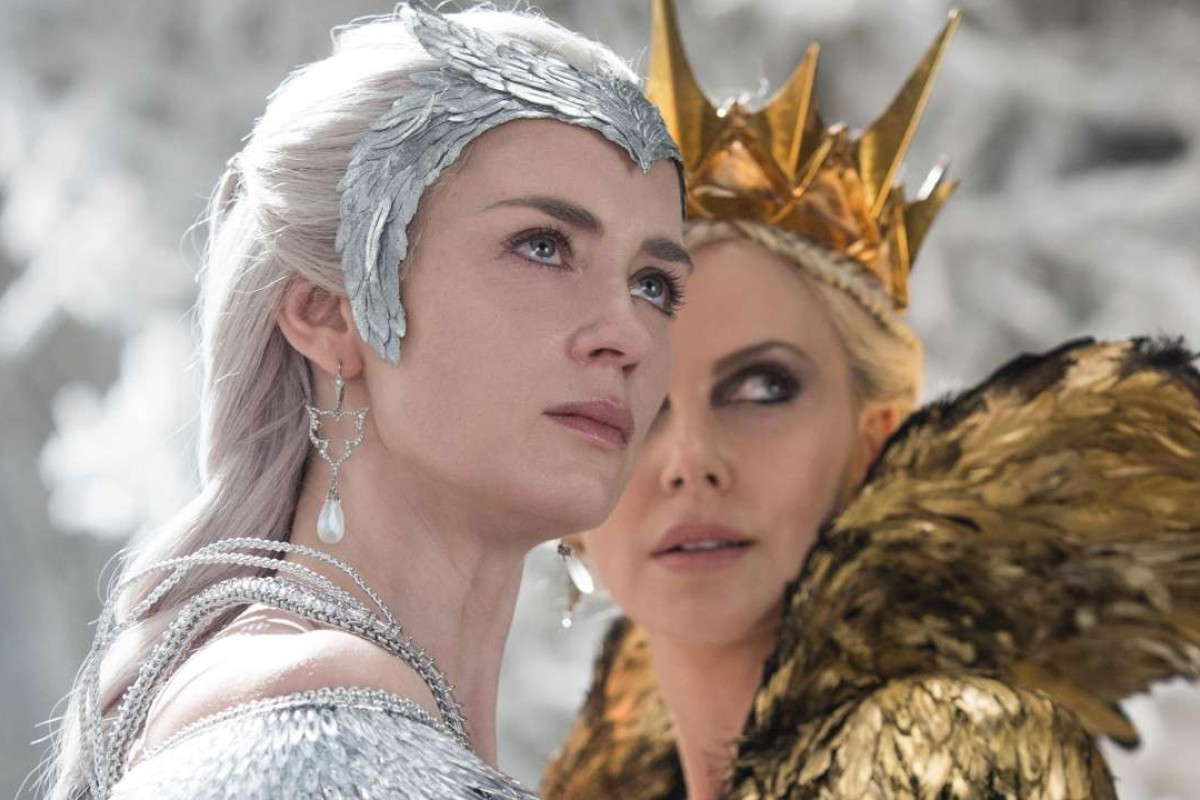 Emily Blunt (left) and Charlize Theron star as good and evil queens in The Huntsman: Winter's War.