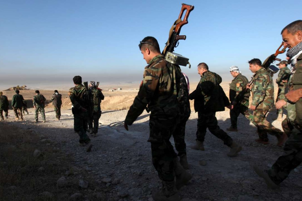 Peshmerga forces in the east of Mosul take part in the operation to drive out Islamic State militants from their stronghold. Photo: Reuters