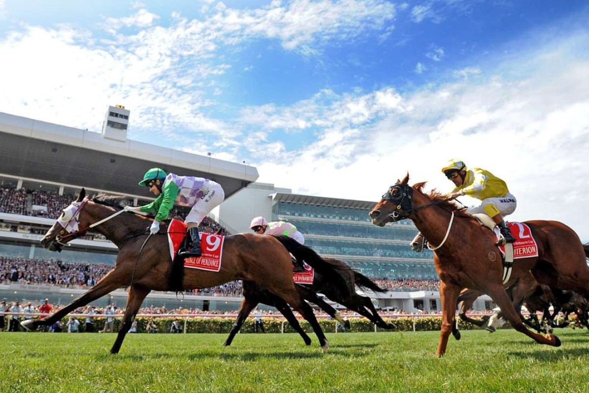 Prince of Penzance stream home to win the 2015 Melbourne Cup race at Flemington Racecourse in Melbourne jockeyed by Australian Michelle Payne. Photo: EPA