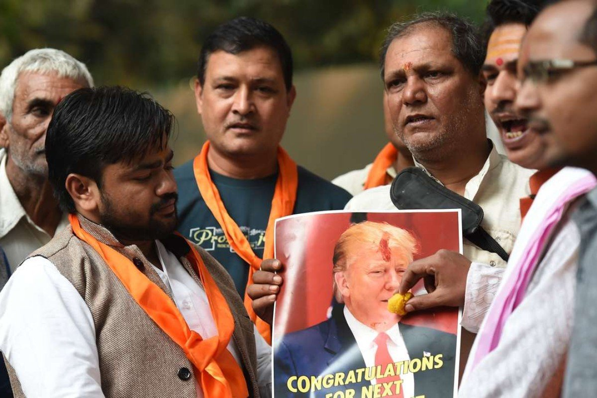 Right-wing activists of India's Hindu Sena celebrate a Trump victory, in New Delhi. Photo: AFP