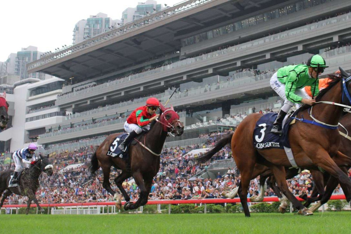 Military Attack (far right) wins the Longines Jockey Club Cup (Group Two 2,000m) at Sha Tin last November with Zac Purton on board. Photos: Kenneth Chan