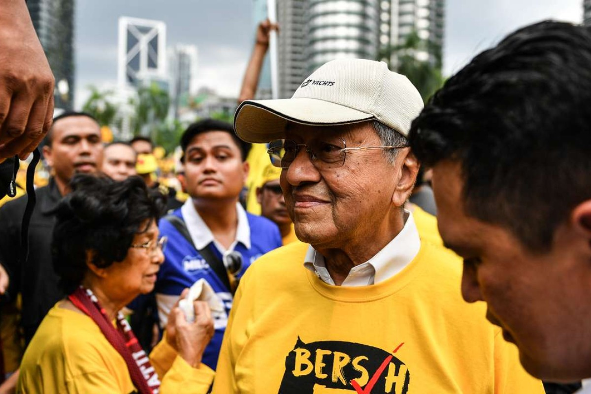 Former Malaysian Prime Minister Mahathir Mohammed attends the mass rally organised by Bersih calling for the resignation of Malaysia's Prime Minister Najib Razak in Kuala Lumpur. Photo: AFP