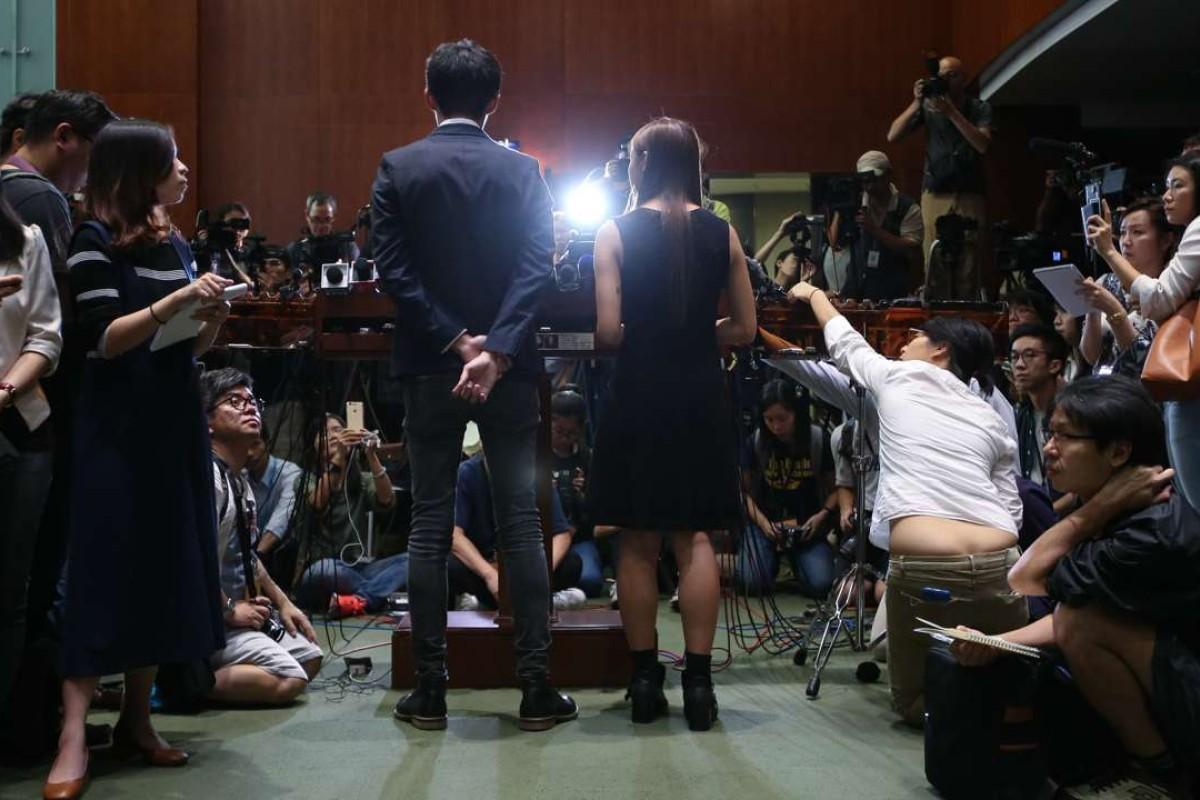 Lawmakers Sixtus Baggio Leung Chung-hang and Yau Wai-ching of Youngspiration at Legco in Tamar. Photo: David Wong