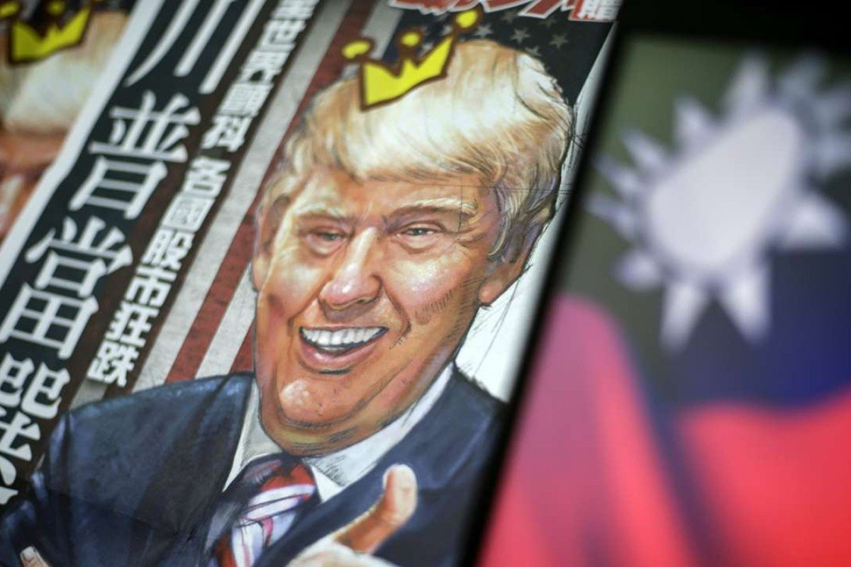 A newspaper illustration of US President-elect Donald Trump next to the flag of Taiwan in Taipei, Taiwan. Photo: EPA