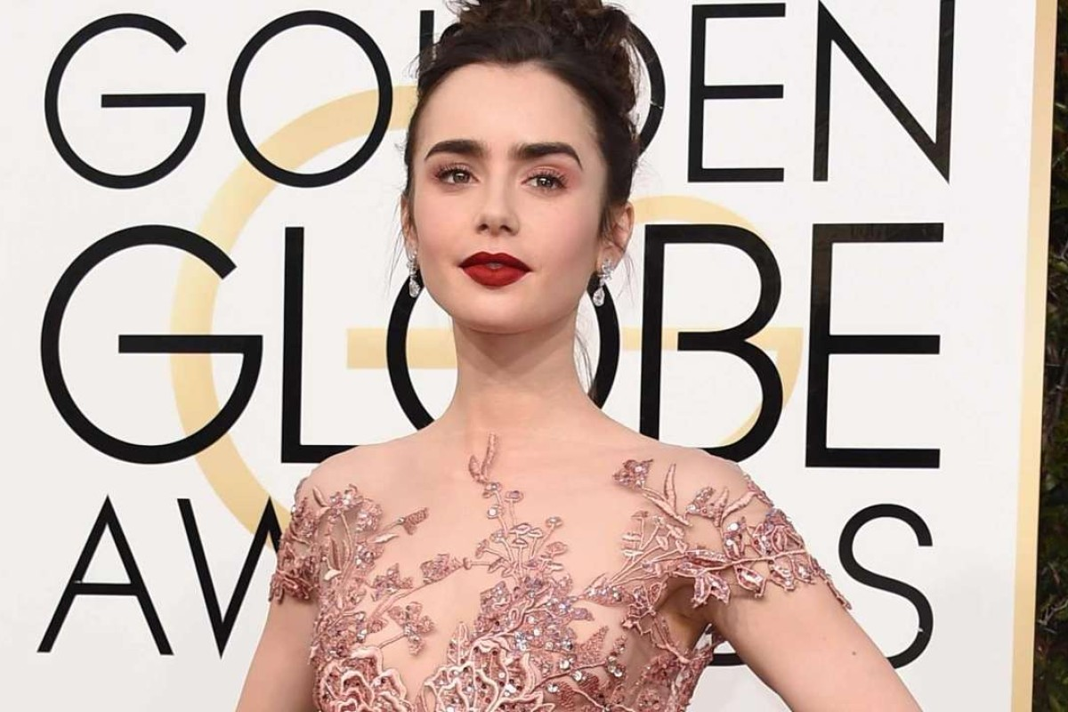 Lily Collins arrives at the 74th annual Golden Globe Awards. Photo: AFP