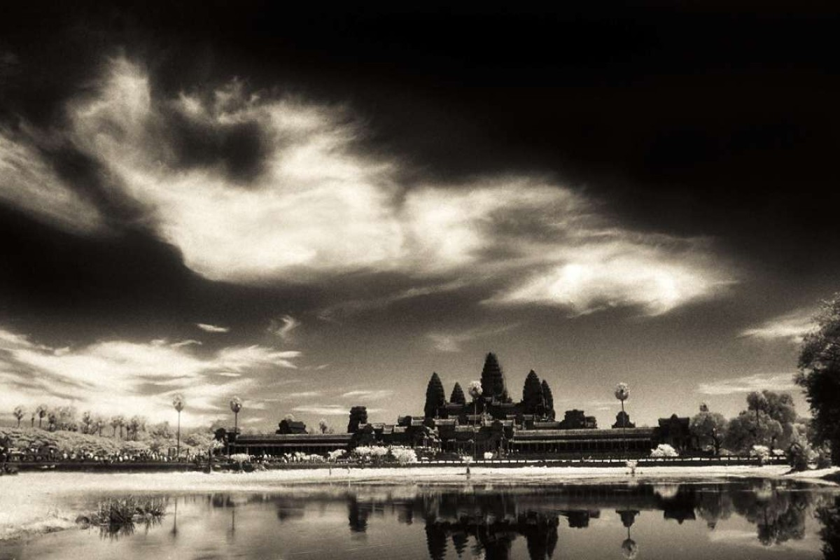 "This infrared image of Angkor Wat taken during a total solar eclipse in 1995 gave John McDermott his ""eureka moment"". Photo: John W. McDermott"