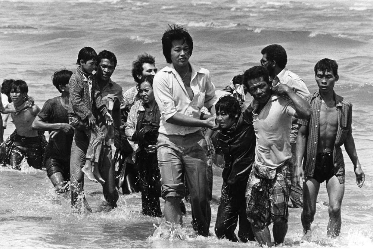 Vietnamese refugees reach shore after their boat sank off the coat of Malaysia in the late 1970s. Picture: AFP