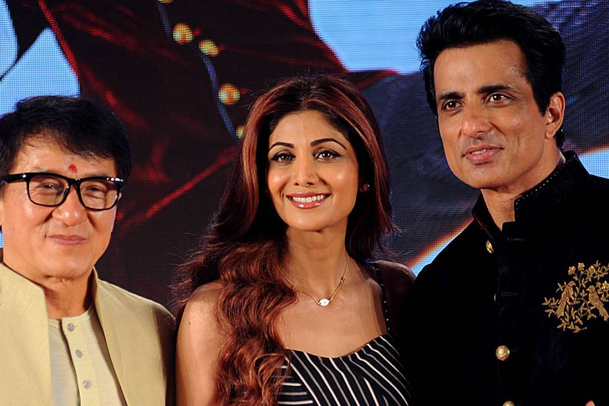 "Hong Kong action movie star Jackie Chan, and Indian Bollywood actors Sonu Sood and Shilpa Shetty, centre, attend a promotional event for the upcoming film ""Kung Fu Yoga"" in Mumbai. Photo: AFP"