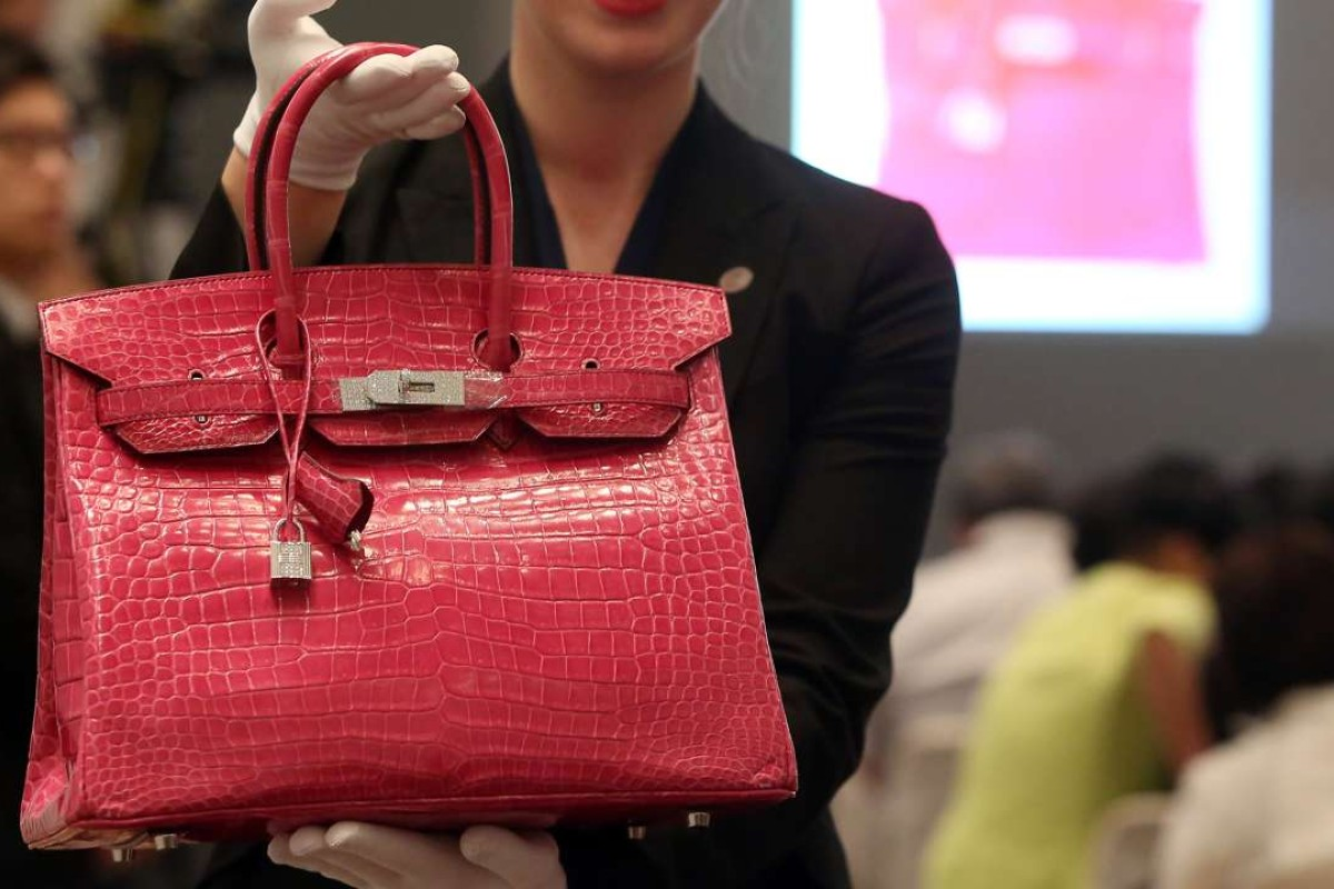 An alligator Hermes Birkin bag on auction at a Christie's sale in Hong Kong in 2015