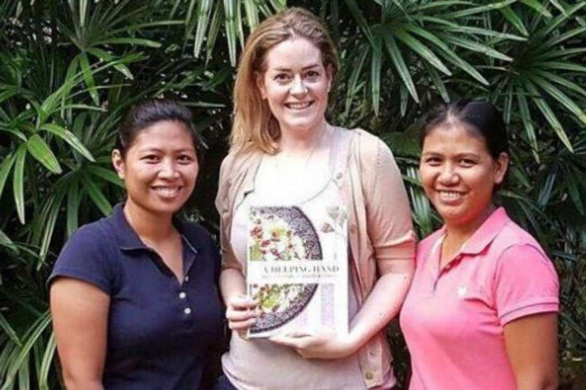 Author Frog Michaels (centre) with her Filipino helpers, Maricon Espiritu (left) and Ginalyn Narag. Picture: courtesy of Frog Michaels