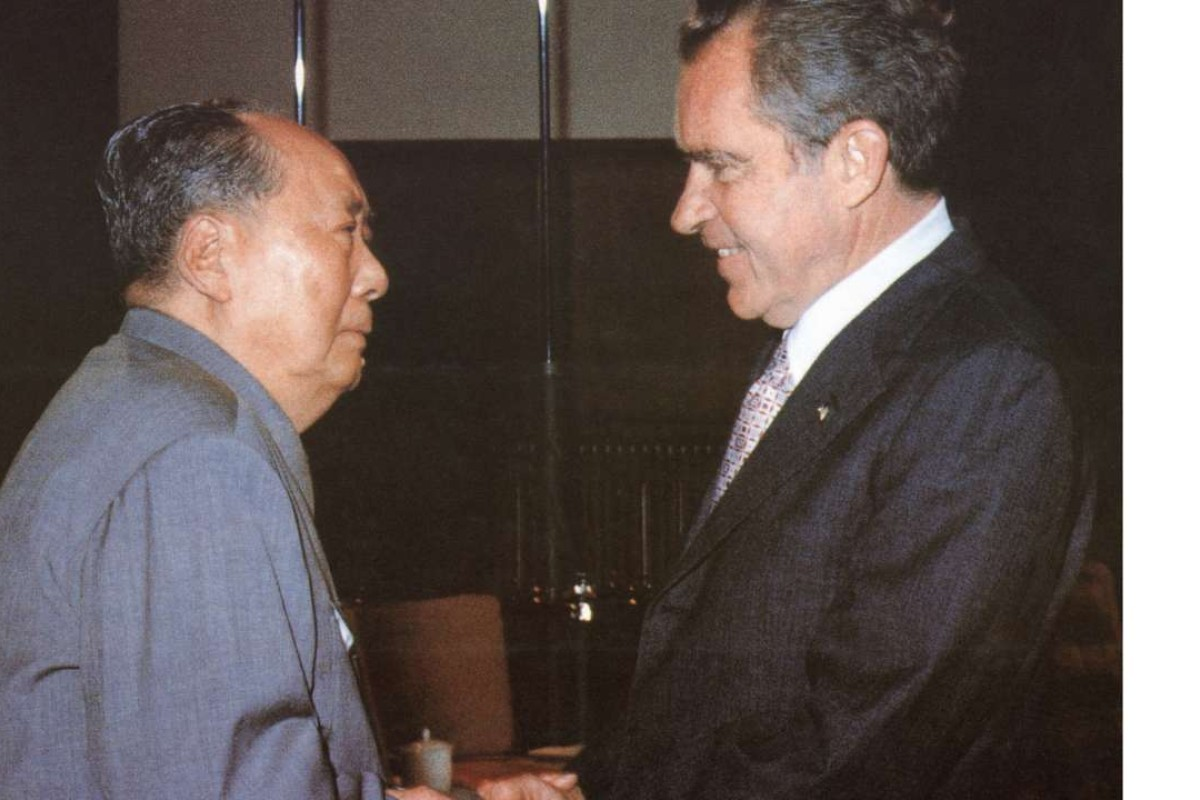 Mao Zedong (left) welcomes Richard Nixon to Beijing, in February 1972. Picture: AFP