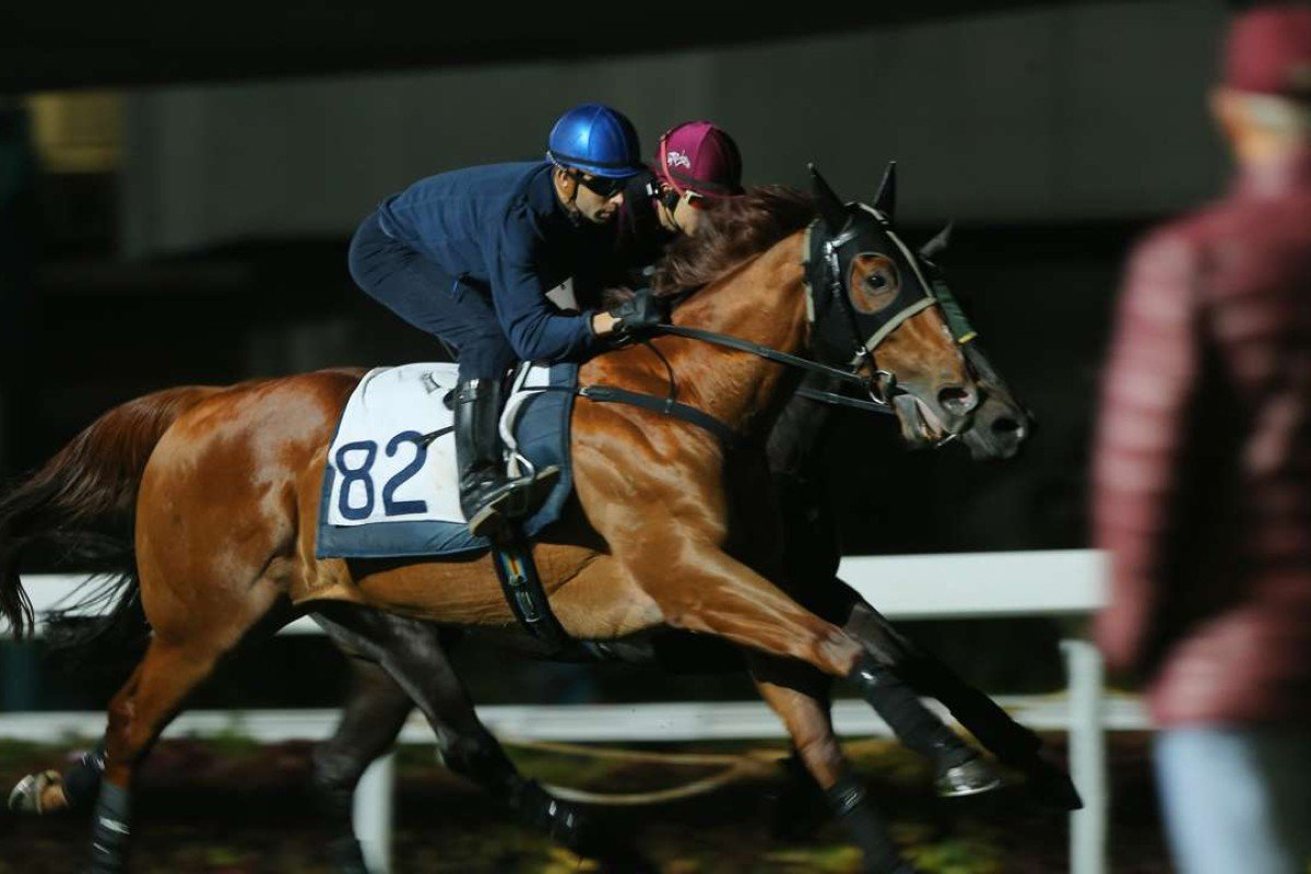 John Moore watches on as Joao Moreira works Rapper Dragon on Thursday morning. Photos: Kenneth Chan