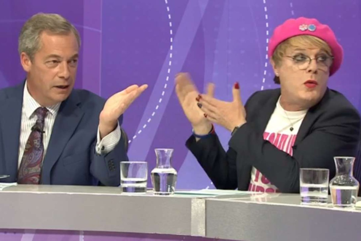 A YouTube screengrab shows Ukip leader Nigel Farage (left) and Izzard on the BBC's Question Time in June 2016.