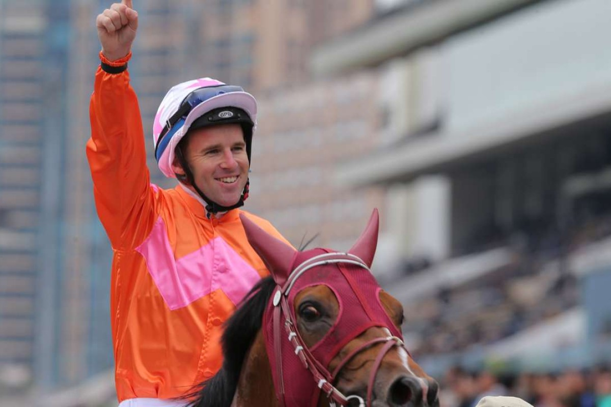 Tommy Berry celebrates Helene Paragon's victory. Photos: Kenneth Chan