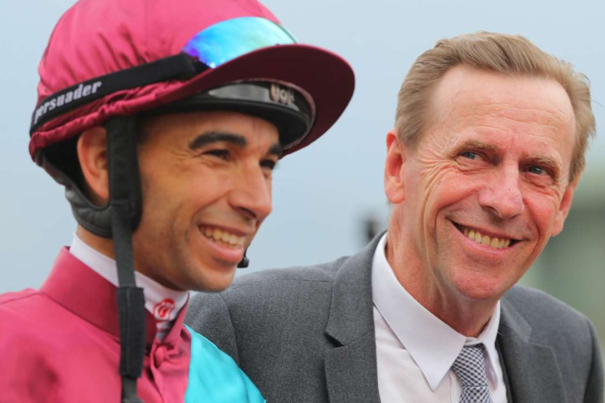 Joao Moreira and John Size after Beat The Clock's win. Photos: Kenneth Chan