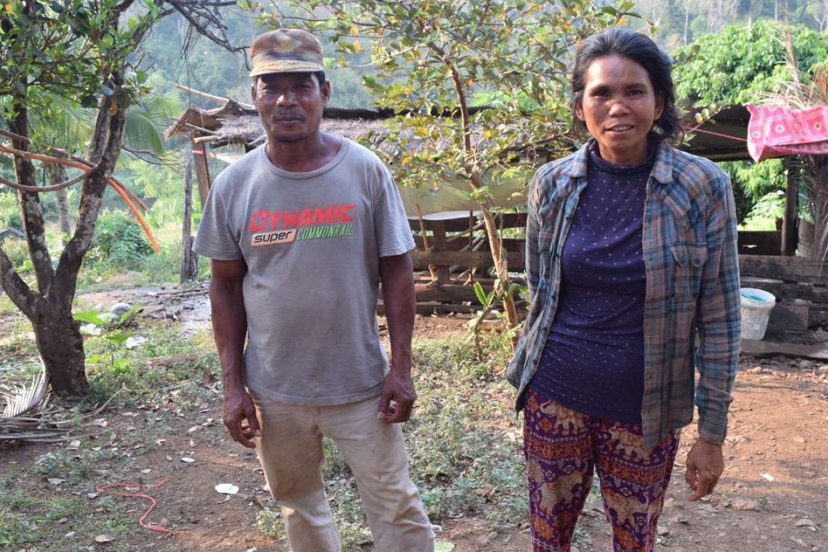 Former Khmer Rouge soldier Rieng Cheat and wife Chum Ny on the 2.5-hectare tract of land they are selling to Jolie. Picture: George Knowles