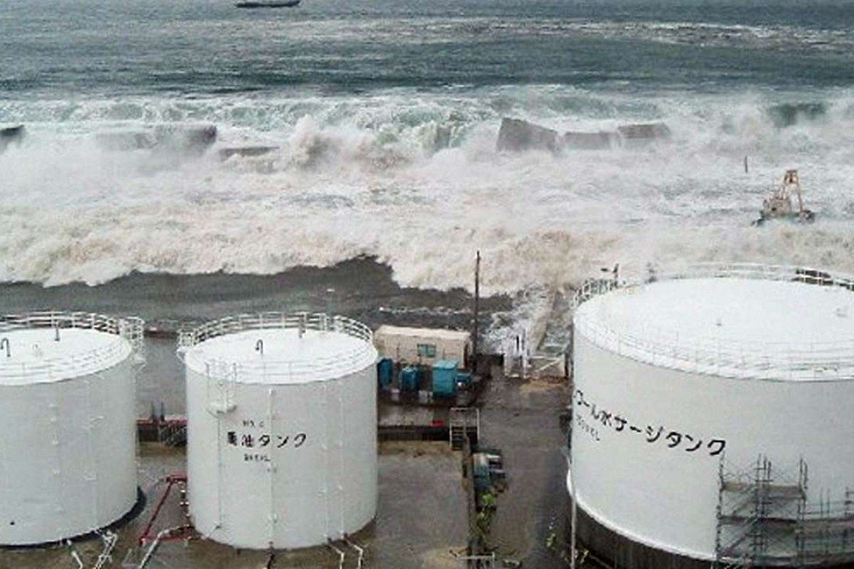 Tsunami Waves Advance On The Fukushima Daiichi Nuclear Power Plant On March  11, 2011