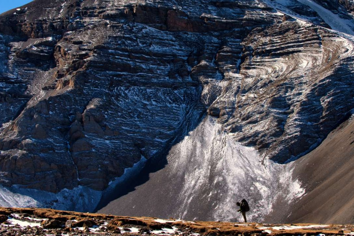 Mountaineer Jagan Timilsina searches in vain for the snow leopard in the high Himalayas, Nepal. Pictures: Andrea Oschetti