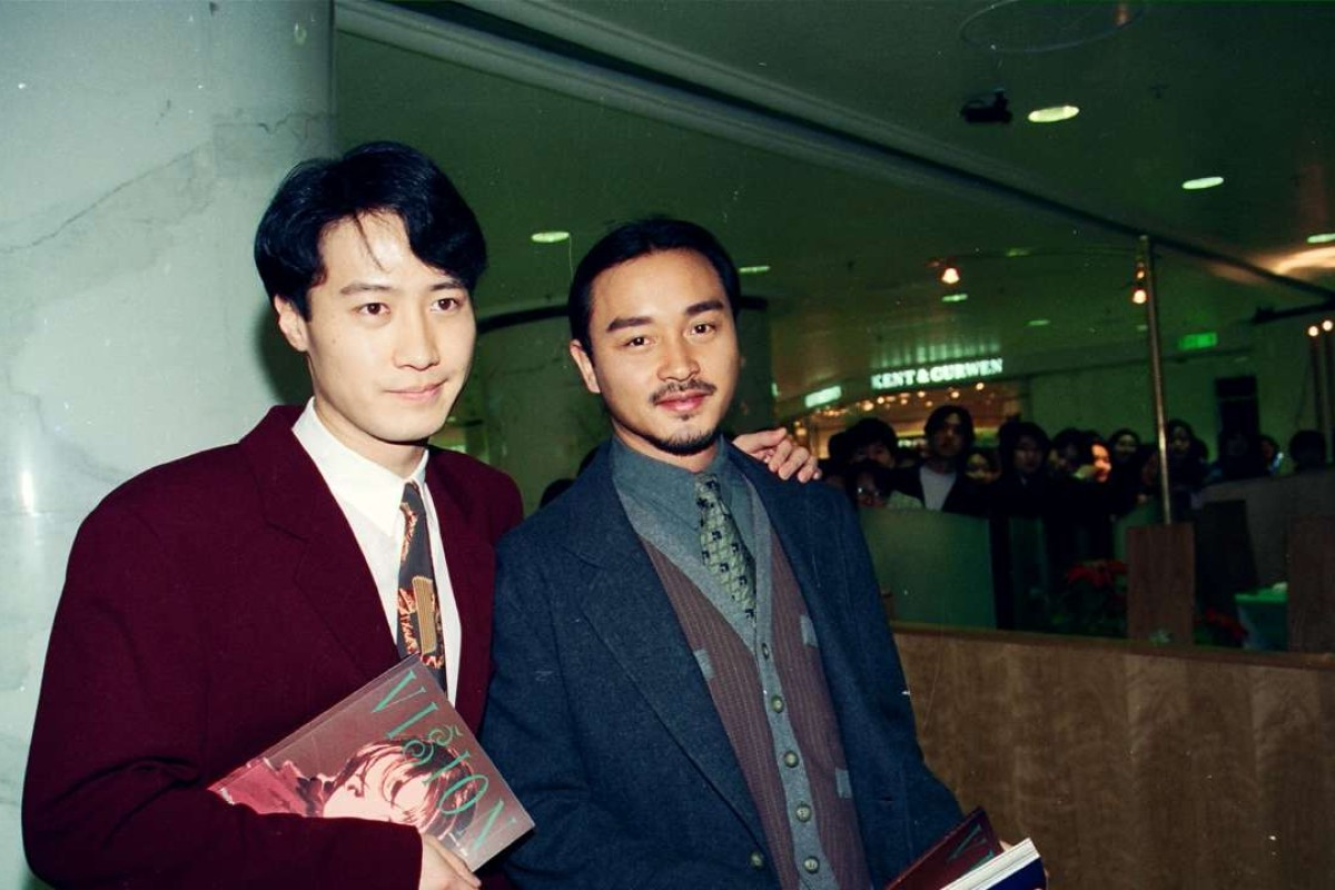 Megastars Leon Lai Ming (left) and Leslie Cheung Kwok-wing attending the opening ceremony of hairdresser Kim Robinson's branch of Le Salon Orient in Times Square.