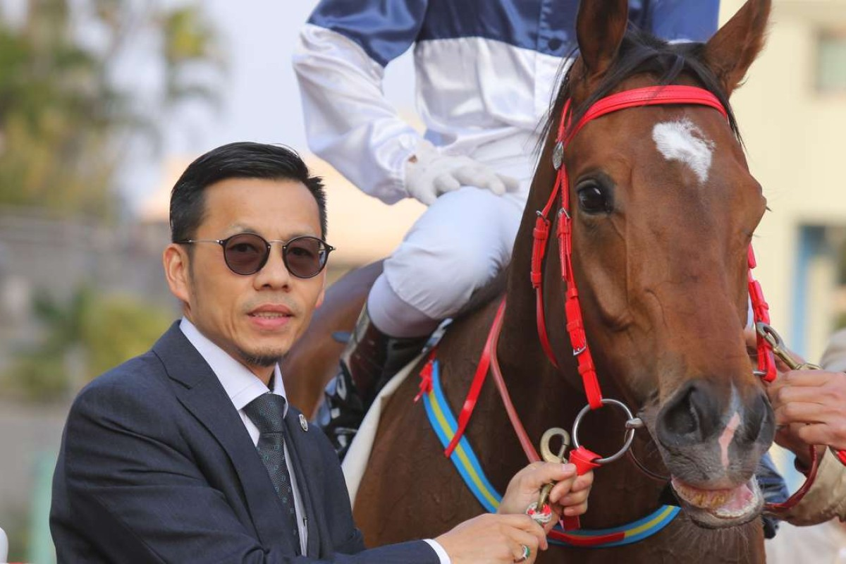 Frankie Lor poses for a photo with House Of Fun at Sha Tin in February. Photos: Kenneth Chan