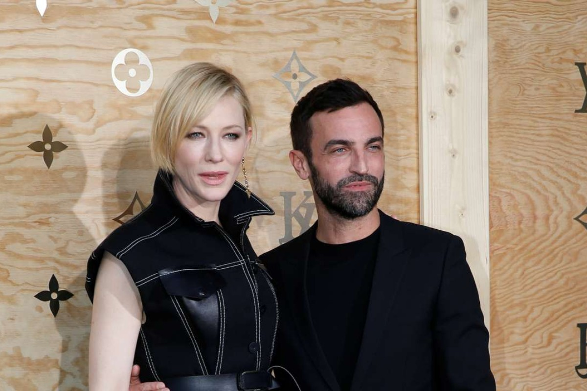 Cate Blanchett and French designer Nicolas Ghesquiere at the launch of Louis Vuitton x Jeff Koons at the Louvre. Photo: REUTERS