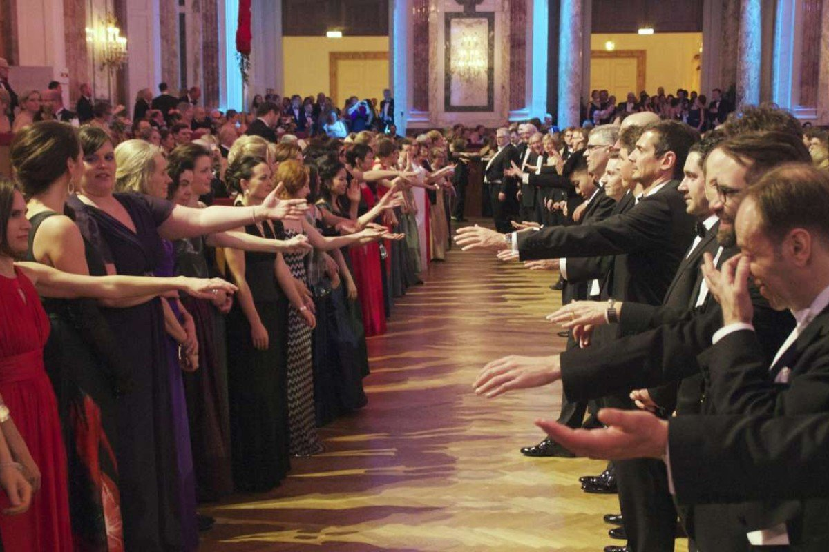 Guests at Vienna's Pharmacy Ball rehearse the midnight quadrille. Picture: Peter Neville-Hadley