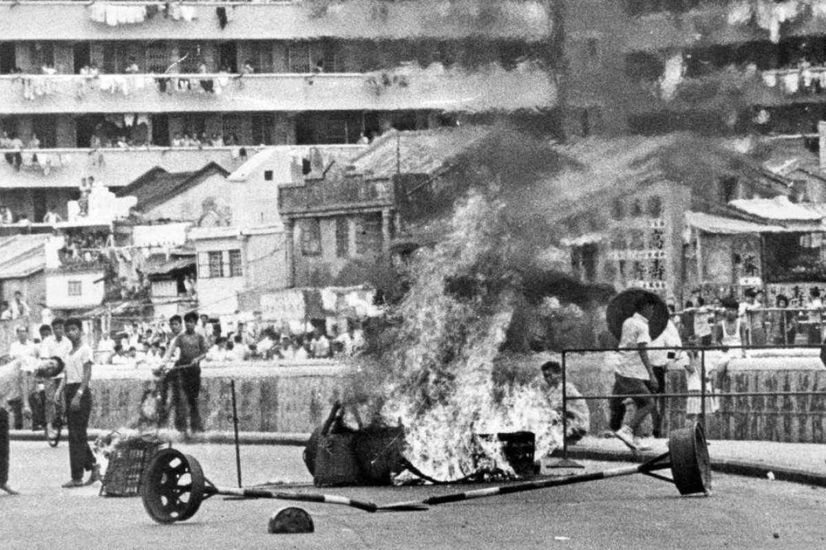 Rioters burn bamboo baskets in 1967. Picture: SCMP