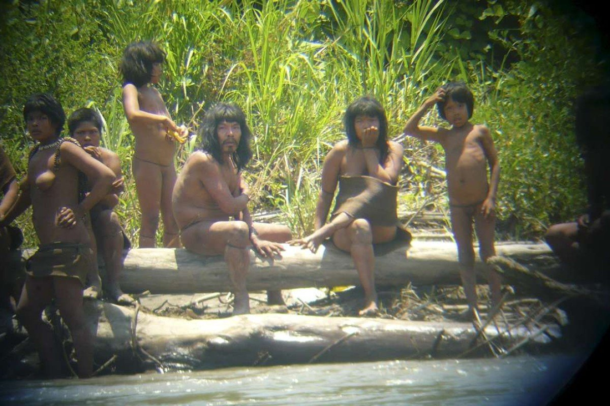 Members of the Mashco Piro in the Manu National Park in the Amazon basin of southeastern Peru. Picture: Reuters