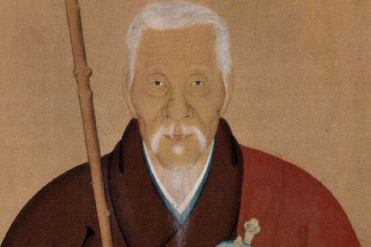 A portrait of the monk Ingen by Kita Genki.