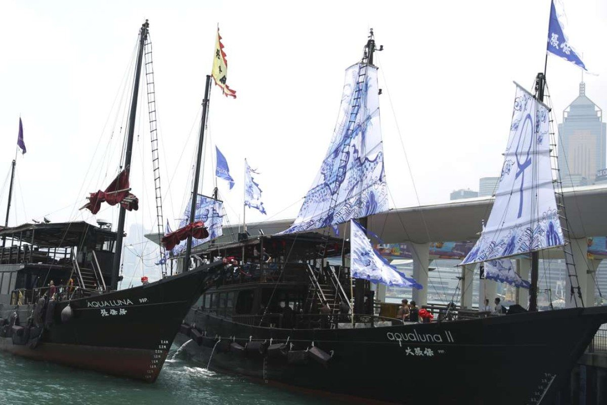 Replica junk Aqua Luna and its new, bigger sister vessel, Aqua Luna II. Picture: Sam Tsang