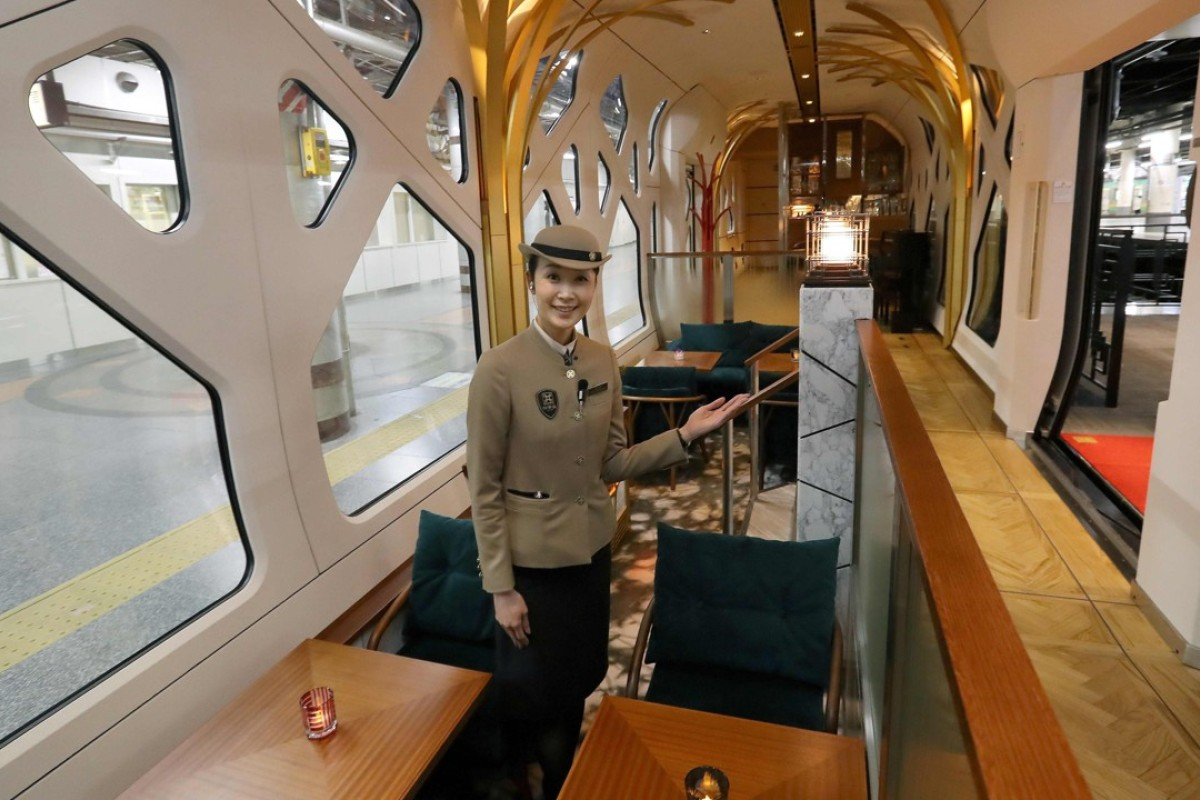 The bathroom of the Shiki-Shima Suite of the Train Suite Shiki-Shima. The luxury sleeper Shiki-Shima, which can accommodate up to 34 passengers, has 10 cars, including a lounge car, a dining car and two observatory cars. Photo: AFP