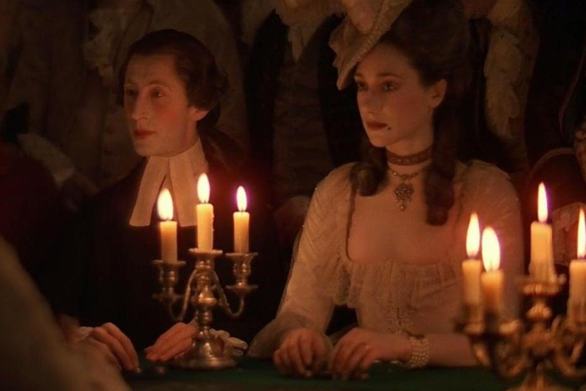 Murray Melvin (left) and Marisa Berenson in a scene from Barry Lyndon.