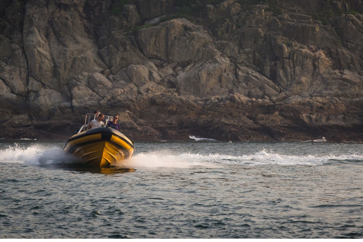 The rigid inflatable boat at Hong Kong's Ninepin Islands. Pictures: Tessa Chan