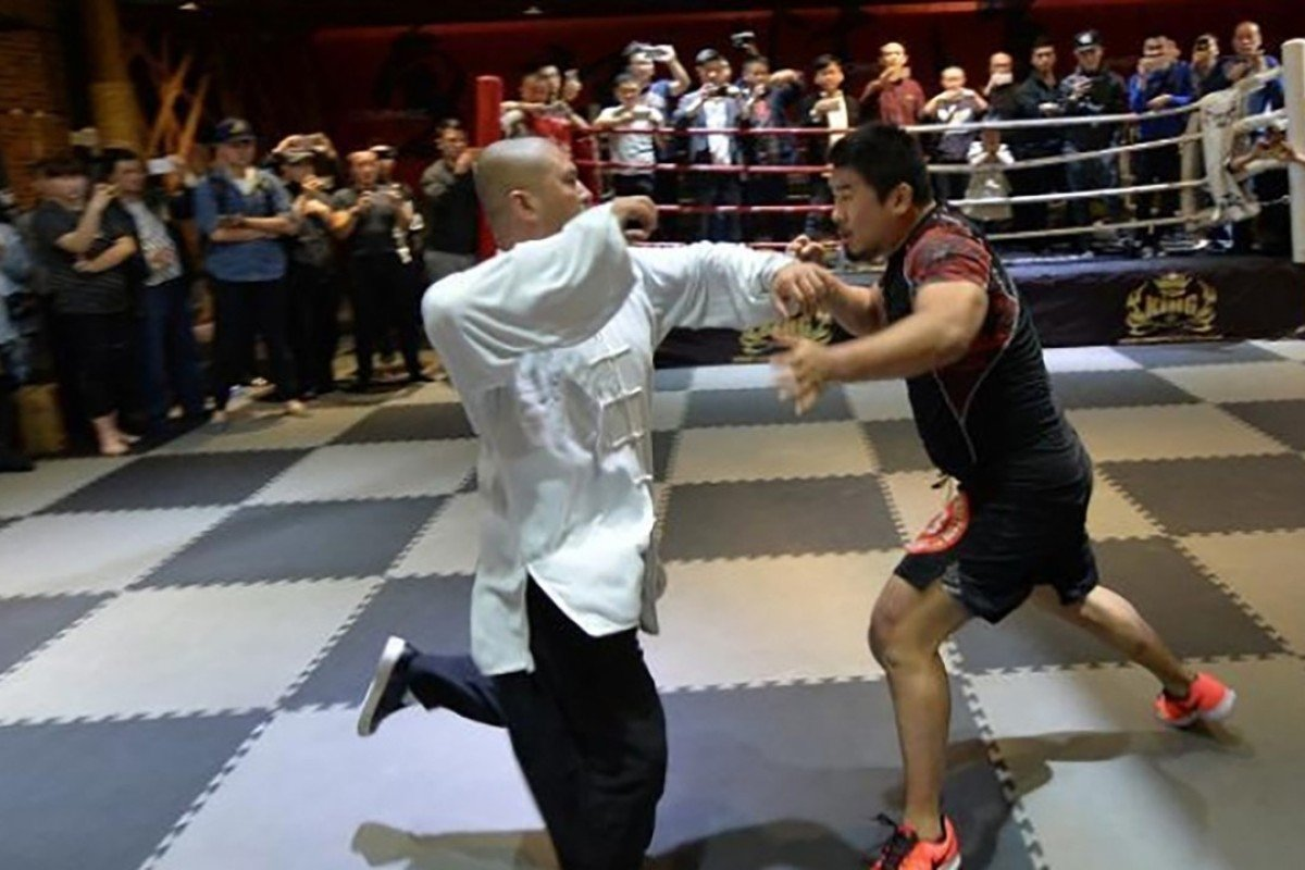 MMA fighter Xu Xiaodong takes on tai chi 'thunder master' Wei Lei in Sichuan. Photo: Handout