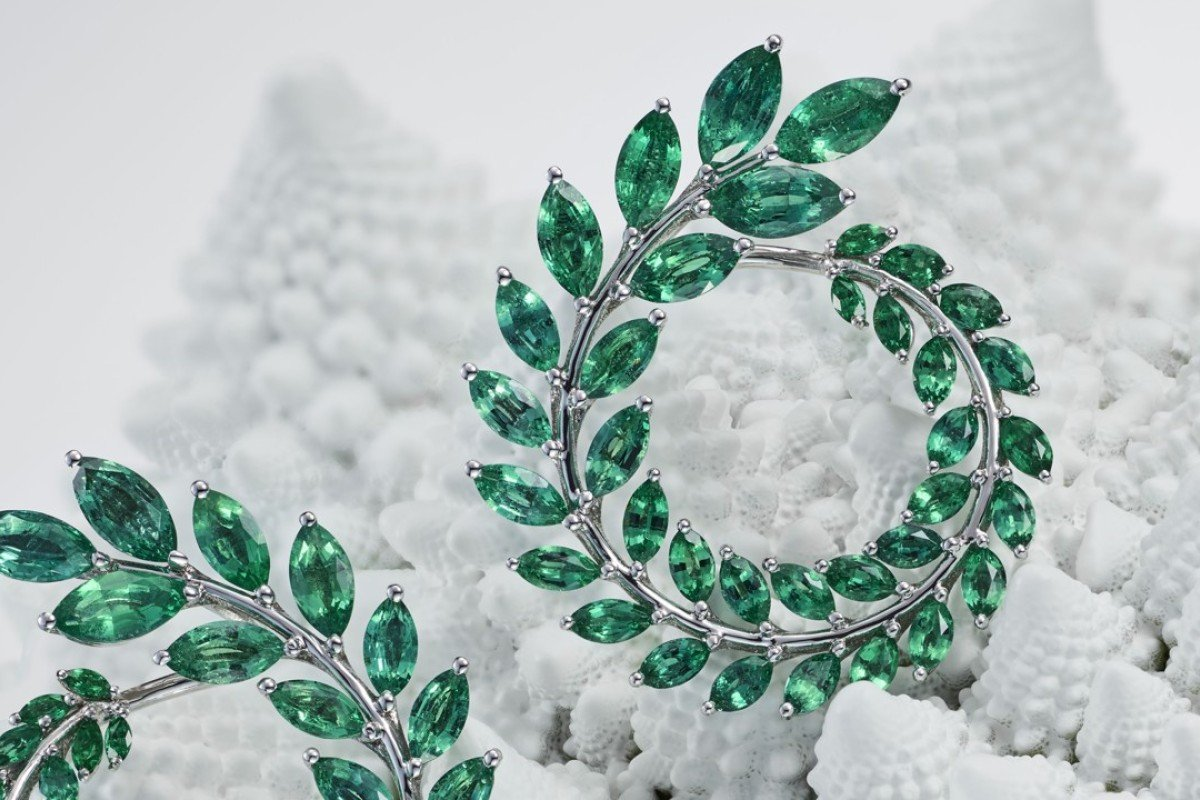 Chopard Earrings Made With 18ct White Fairmined Gold Set Ethically Sourced Marquise Cut Emeralds