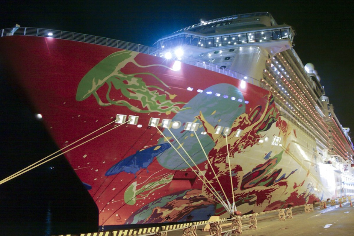 The Genting Dream moored in the port at Naha, Okinawa. Picture: Stuart Heaver