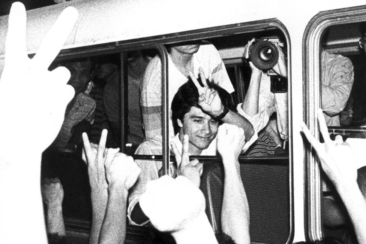The Hong Kong soccer team receives a heroes' welcome at Kai Tak Airport in May 1985. Picture: SCMP