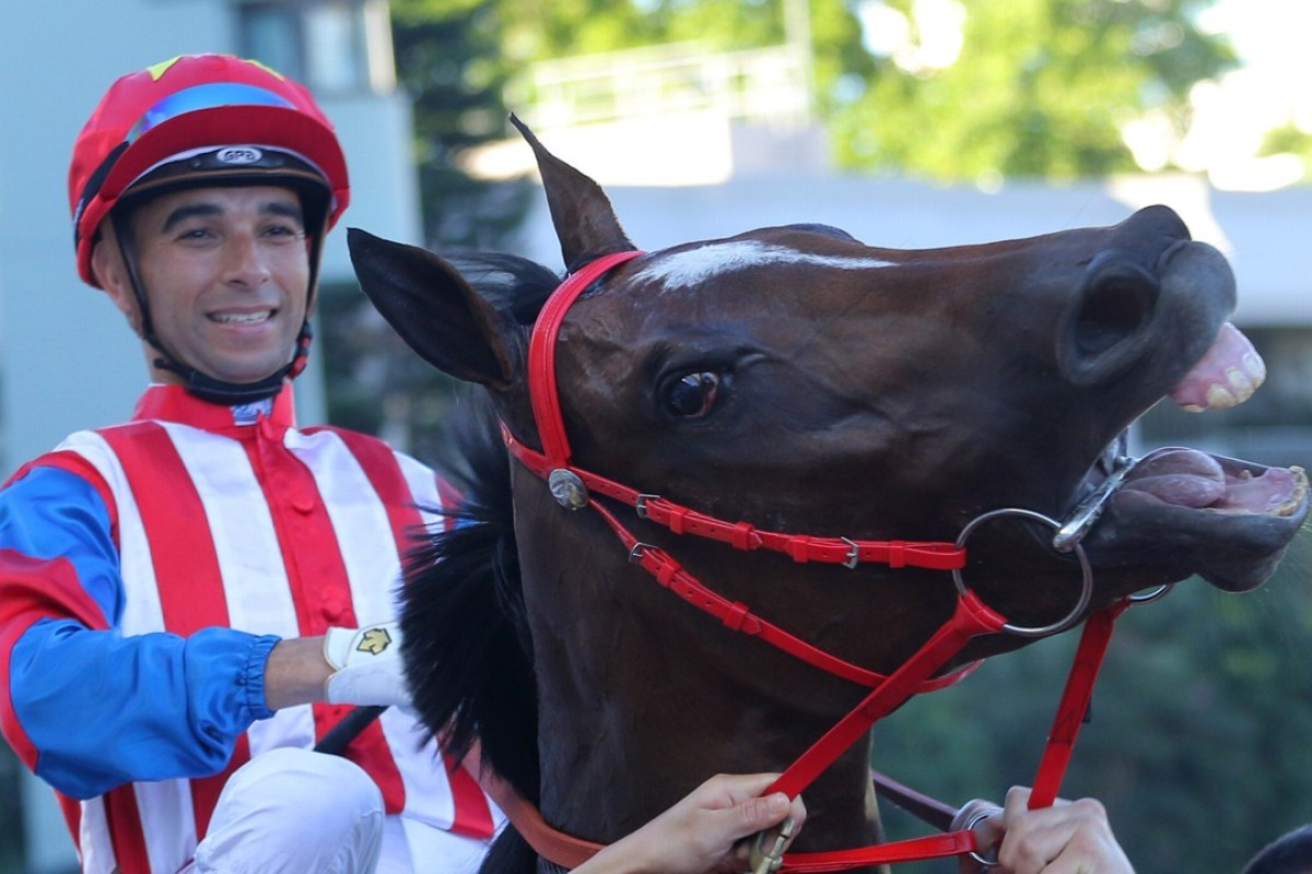 Joao Moreira and Spicy Sure after a win at Sha Tin in June last year. Photos: Kenneth Chan.