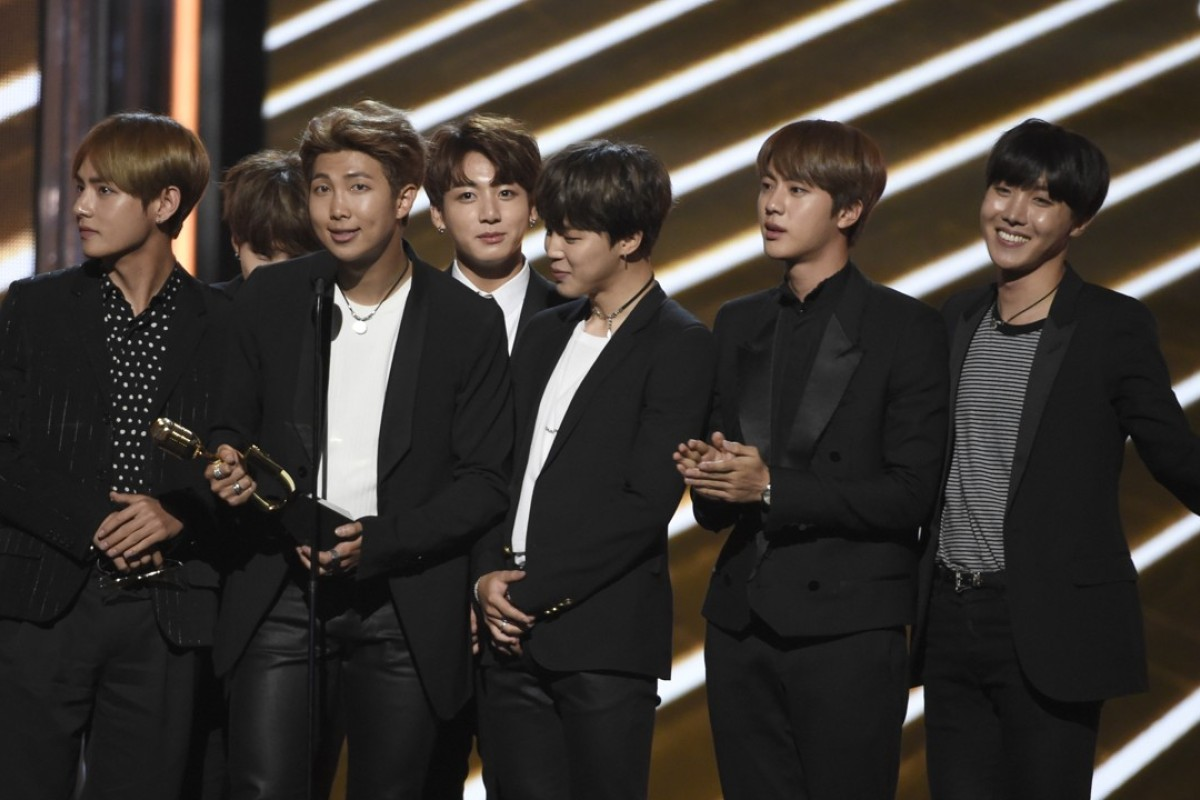 BTS, a South Korean band, accepts the award for top social artist at the Billboard Music Awards at the T-Mobile Arena. Photo: AP