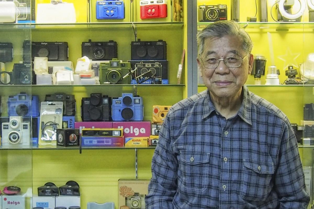Lee Ting-mo, inventor of the Holga camera, at his office in Hong Kong. Picture: Manami Okazaki