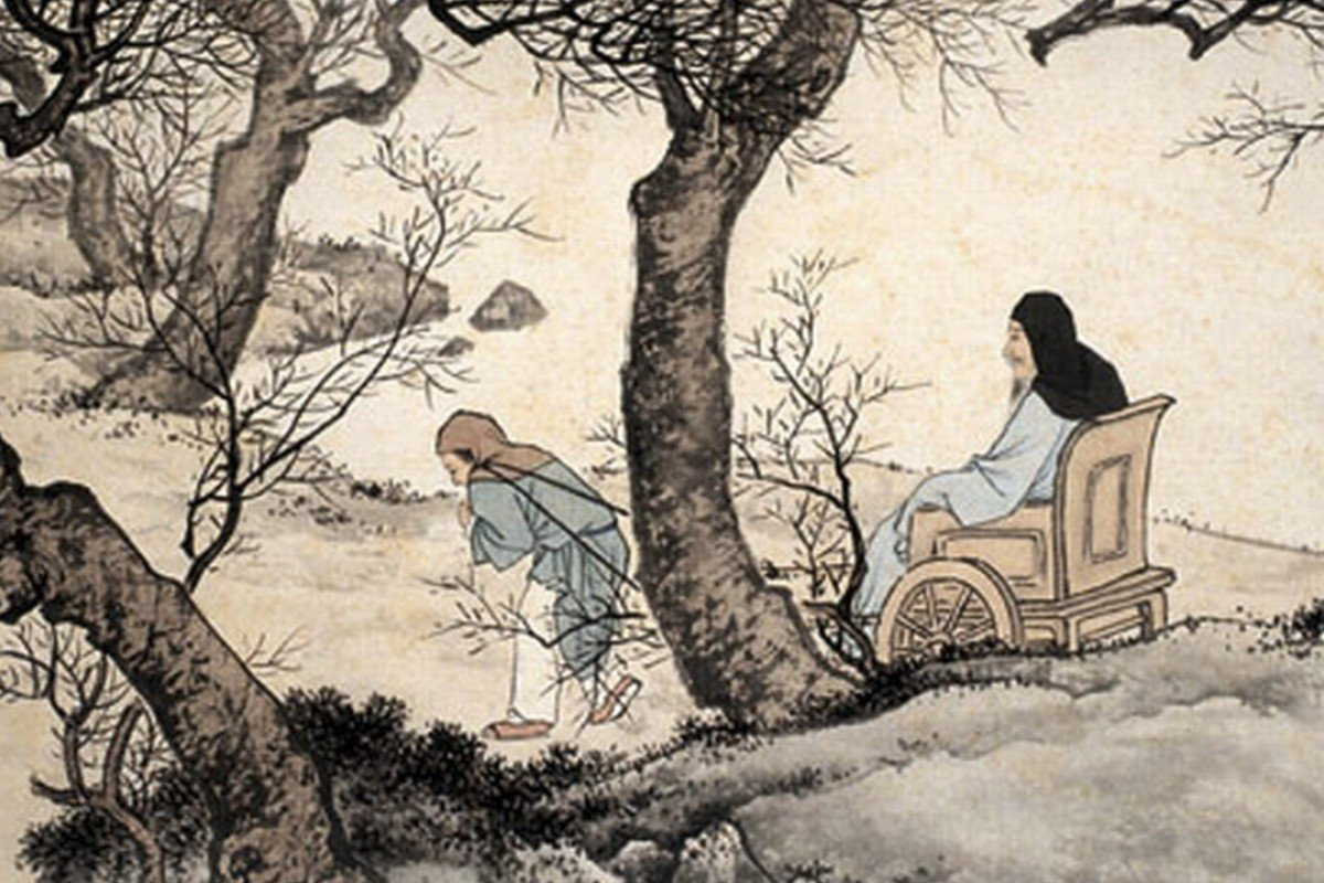 Min Ziqian, a disciple of Confucius and a model of filial piety, is seen pulling his father's cart in the freezing cold in this illustration from The Twenty-four Filial Exemplars.