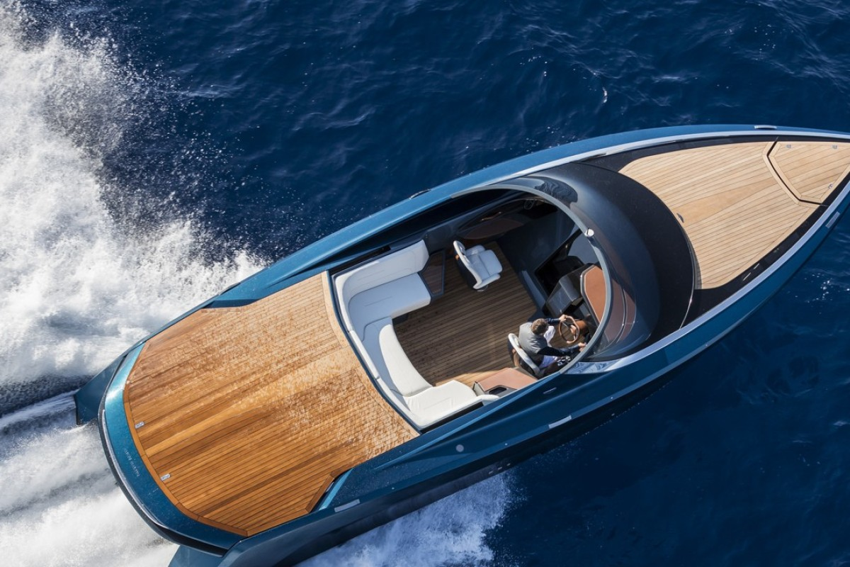 The result of a partnership between Quintessence Yachts and Aston Martin,ok the AM37 is a Bond-worthy powerboat, capable of reaching 50 knots. Photo: Carlo Borlenghi