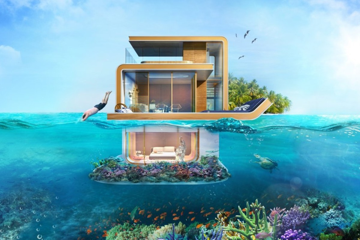 A rendering of the floating house in Dubai