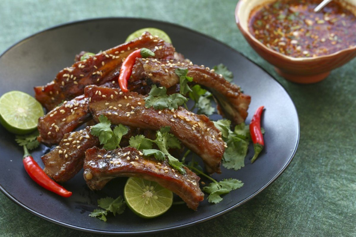Slow-cooked Thai pork ribs. Photography: Jonathan Wong. Styling: Nellie Ming Lee