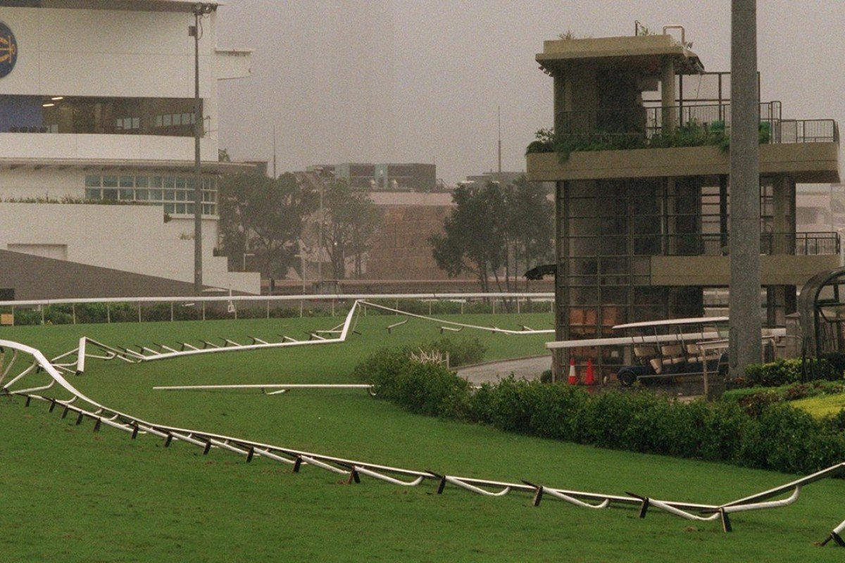 Typhoon York blows down the running rail at Sha Tin in September 1999. Photos: SCMP